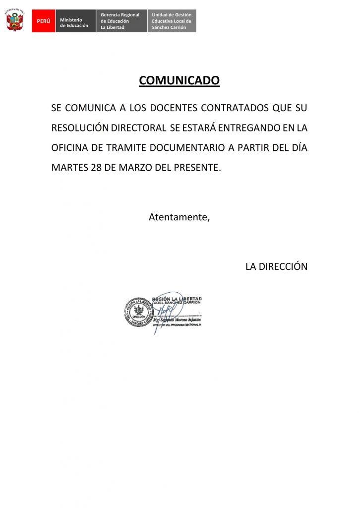 ENTREGA DE RESOLUCIONES DIRECTORALES