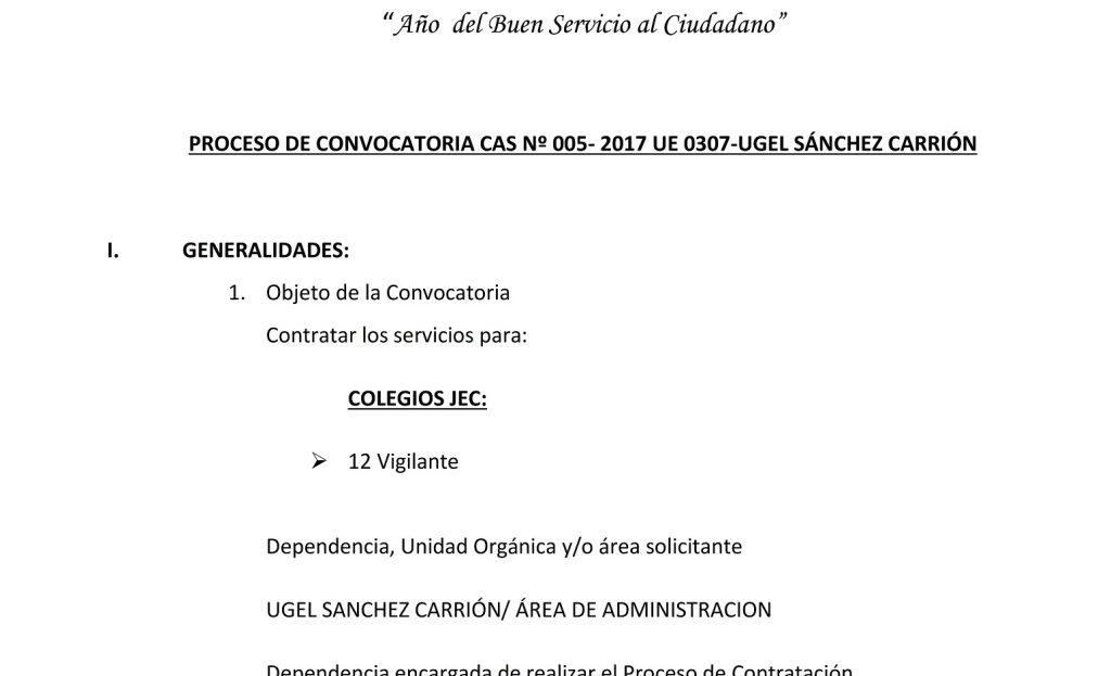 CONVOCATORIA CAS N° 005-2017 UE 0307 UGEL SÁNCHEZ…