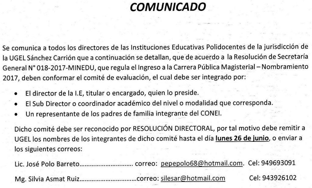 TODOS LOS DIRECTORES DE II.EE. POLI DOCENTES DEBER…
