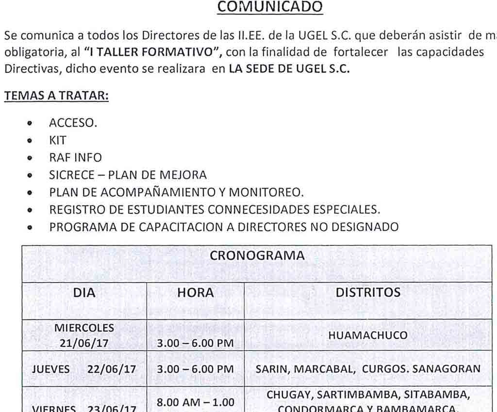 I TALLER FORMATIVO DIRECTORES ASISTIR DE MANERA OB…