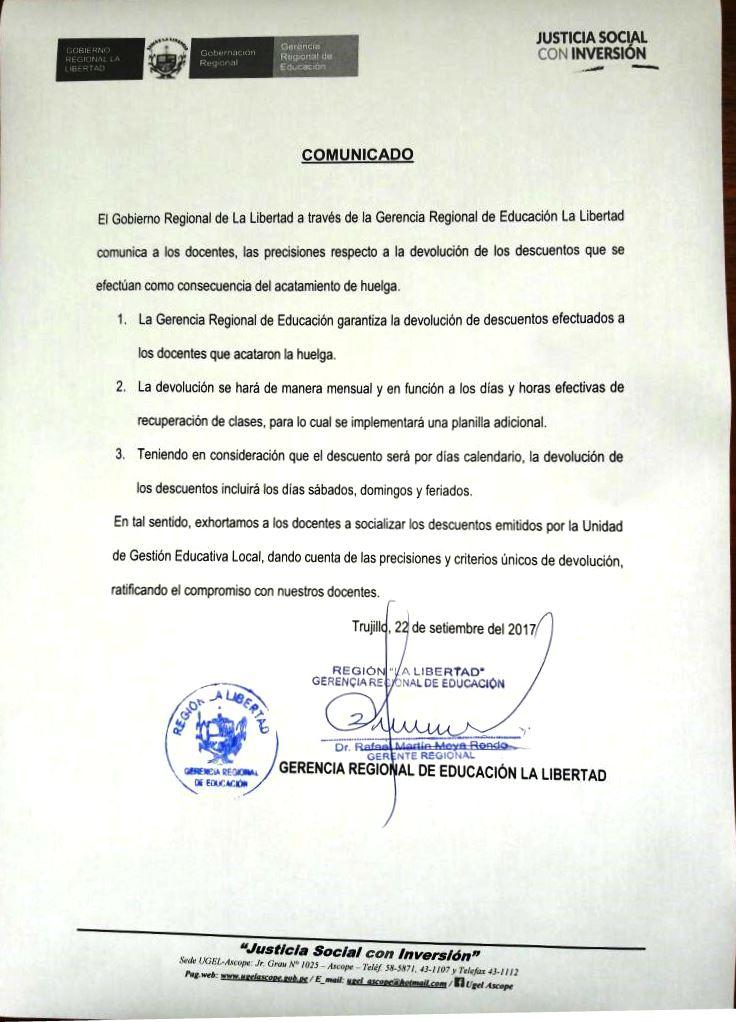 Devolución de los descuentos por huelga