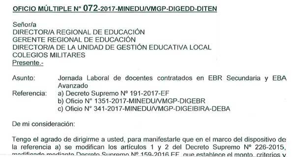 Jornada laboral de docentes contratados en EBR Sec…