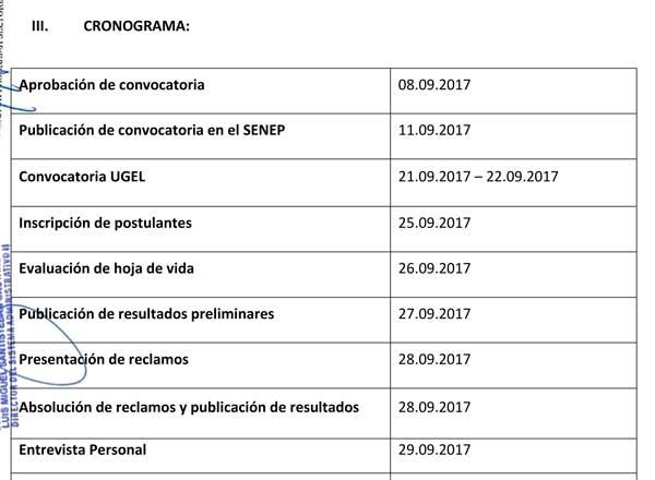 CONVOCATORIA CAS N° 009-2017 UE 0307 UGEL SÁNCHEZ…