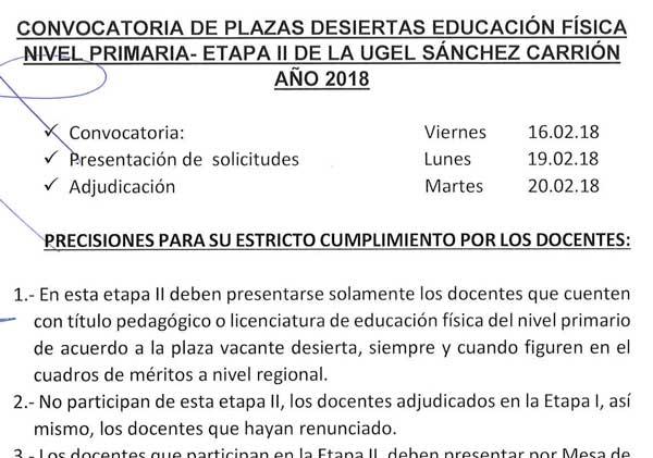 CONVOCATORIA DE PLAZAS DESIERTAS EDUCACIÓN FÍSICA…