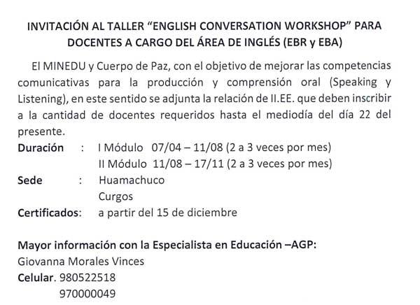 "Taller ""ENGLISH CONVERSATION WORKSHOP"" dirigido a…"