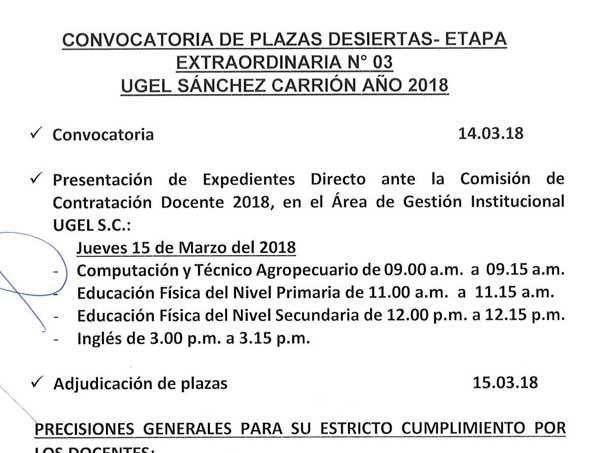 Convocatoria de plazas desiertas – Etapa Extraordi…