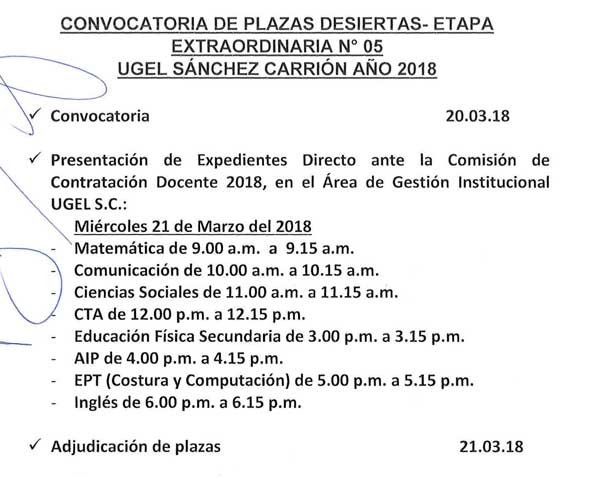 CONVOCATORIA DE PLAZAS DESIERTAS- ETAPA EXTRAORDIN…