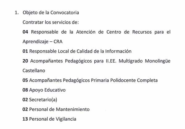 CONVOCATORIA CAS Nº 003- 2018 UE 0307-UGEL S.C.