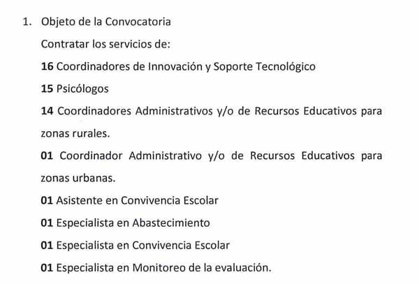 CONVOCATORIA CAS Nº 004- 2018 UE 0307-UGEL S.C.