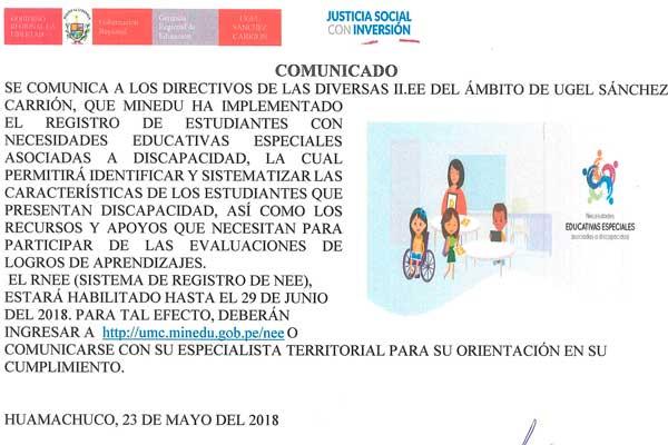 REGISTRÓ DE ESTUDIANTES CON NECESIDADES ESPECIALES…