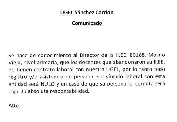 Director de la Institución Educativa 80168, Molino…