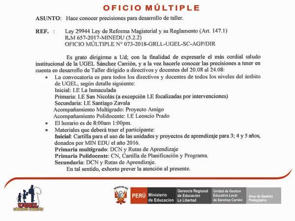 PRECISIONES PARA DESARROLLO DE TALLER.
