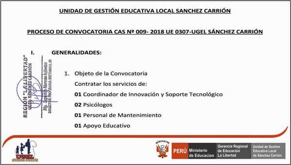 CONVOCATORIA CAS Nº 009- 2018 UE 0307-UGEL S.C. (R…
