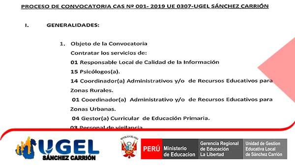 CONVOCATORIA CAS Nº 001- 2019 UE 0307-UGEL – S.C.