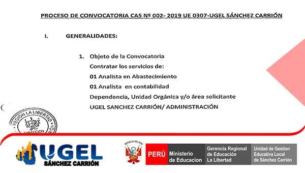 CONVOCATORIA CAS Nº 002- 2019 UE 0307-UGEL – S.C.