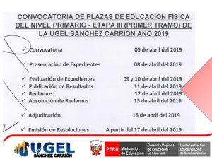 Cronograma de convocatoria de plazas de Educación…