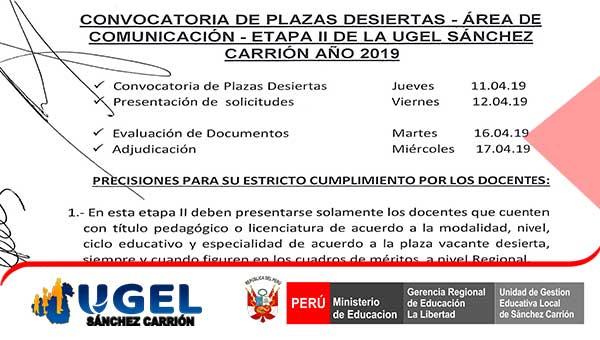 Convocatoria plazas desiertas etapa II área de com…