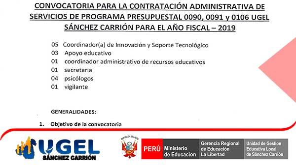 CONVOCATORIA CAS Nº 009 – 2019 UE 0307-UGEL – S.C.…