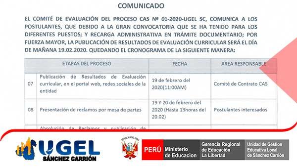 Comunicado CAS 01 -2020 cronograma modificado
