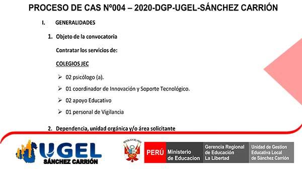 CONVOCATORIA CAS Nº 04 – 2020-DGP-UGEL-S.C. PRELIM…