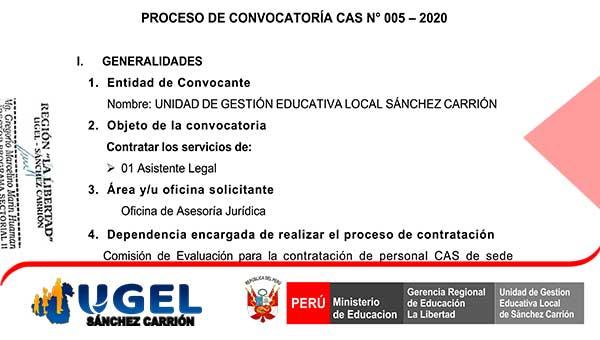CONVOCATORIA CAS Nº 05 – 2020 UE 0307-UGEL – S.C.…